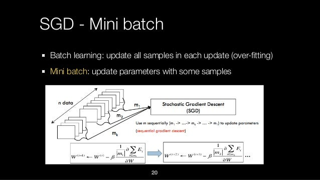 SGD - Mini batch Batch learning: update all samples in each update (over-fitting) Mini batch: update parameters with some s...