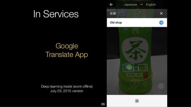 26 In Services Google Translate App Deep learning inside (work offline) July 29, 2015 version