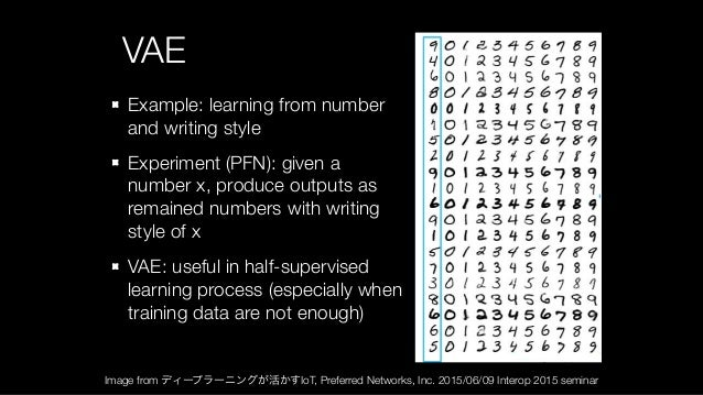 VAE Example: learning from number and writing style Experiment (PFN): given a number x, produce outputs as remained number...