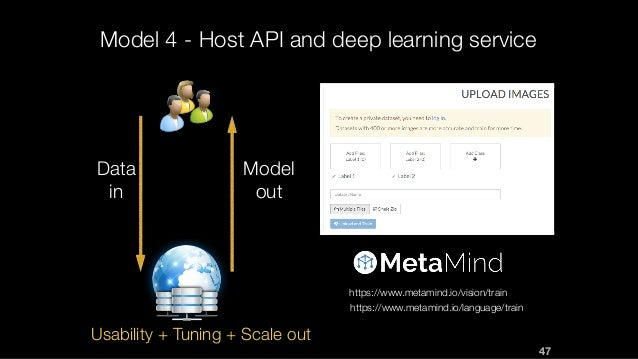 Model 4 - Host API and deep learning service Data in Model out https://www.metamind.io/vision/train https://www.metamind.i...