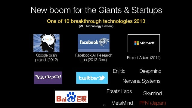 8 New boom for the Giants & Startups Google brain project (2012) Facebook AI Research Lab (2013 Dec.) Project Adam (2014) ...