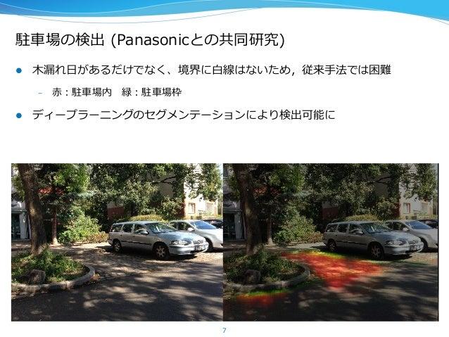 駐⾞車車場の検出 (Panasonicとの共同研究) 7 l ⽊木漏漏れ⽇日があるだけでなく、境界に⽩白線はないため,従来⼿手法では困難 – ⾚赤:駐⾞車車場内 緑:駐⾞車車場枠 l ディープラーニングのセグメンテーションにより検...