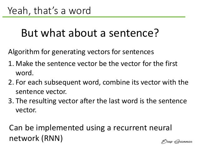 Yeah, that's a word But what about a sentence? Algorithm for generating vectors for sentences 1. Make the sentence vector ...