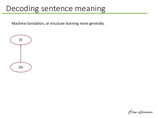 Decoding sentence meaning Machine translation, or structure learning more generally. El h3