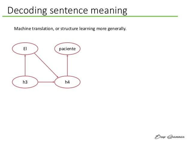 Decoding sentence meaning Machine translation, or structure learning more generally. El h3 paciente h4