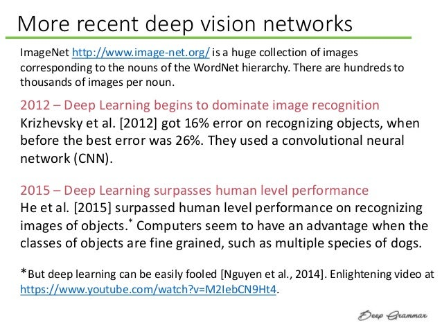 More recent deep vision networks ImageNet http://www.image-net.org/ is a huge collection of images corresponding to the no...