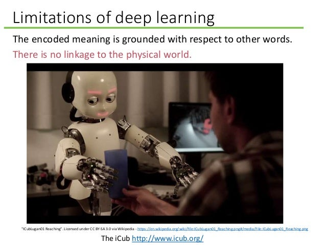 Limitations of deep learning The encoded meaning is grounded with respect to other words. There is no linkage to the physi...