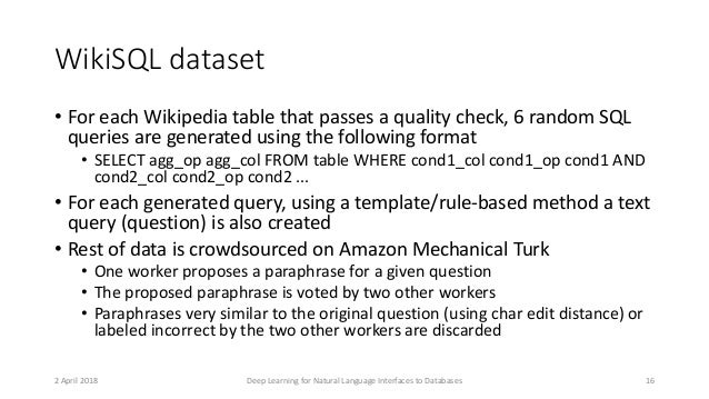 WikiSQL dataset • For each Wikipedia table that passes a quality check, 6 random SQL queries are generated using the follo...
