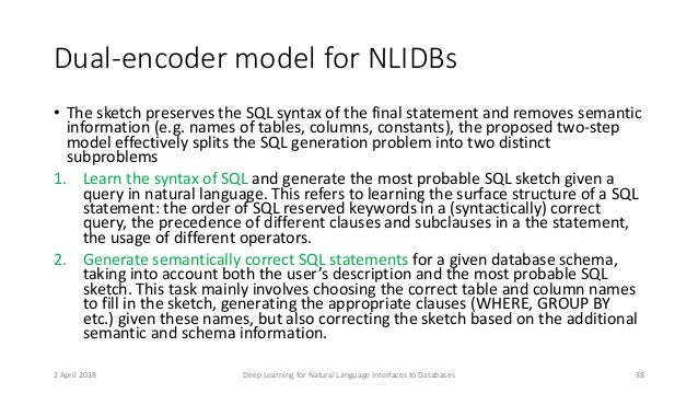 Dual-encoder model for NLIDBs • The sketch preserves the SQL syntax of the final statement and removes semantic informatio...