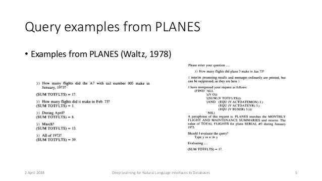 Query examples from PLANES • Examples from PLANES (Waltz, 1978) 2 April 2018 Deep Learning for Natural Language Interfaces...