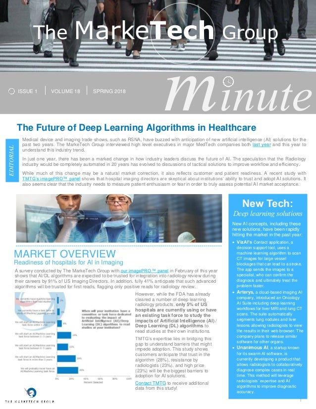 1 minuteThe Future of Deep Learning Algorithms in Healthcare Medical device and imaging trade shows, such as RSNA, have bu...