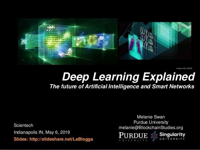 Melanie Swan Purdue University melanie@BlockchainStudies.org Deep Learning Explained The future of Artificial Intelligence...