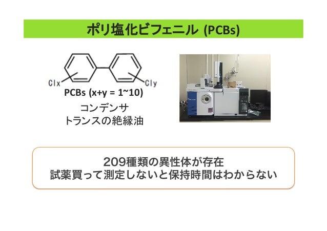 209種類の異性体が存在 試薬買って測定しないと保持時間はわからない ポリ塩化ビフェニル (PCBs) コンデンサ   トランスの絶縁油   PCBs  (x+y  =  1~10)