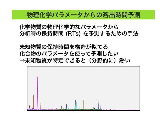 物理化学パラメータからの溶出時間予測 化学物質の物理化学的なパラメータから 分析時の保持時間 (RTs) を予測するための手法 未知物質の保持時間を構造が似てる 化合物のパラメータを使って予測したい →未知物質が特定できると(分野的に)熱い