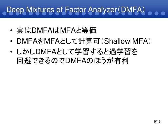 Deep Mixtures of Factor Analyzer(DMFA)• 実はDMFAはMFAと等価• DMFAをMFAとして計算可(Shallow MFA)• しかしDMFAとして学習すると過学習を回避できるのでDMFAのほうが有利9/16