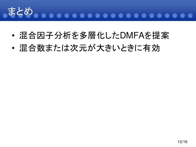 まとめ• 混合因子分析を多層化したDMFAを提案• 混合数または次元が大きいときに有効12/16