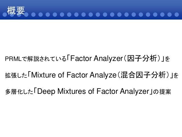 概要PRMLで解説されている「Factor Analyzer(因子分析)」を拡張した「Mixture of Factor Analyze(混合因子分析)」を多層化した「Deep Mixtures of Factor Analyzer」の提案