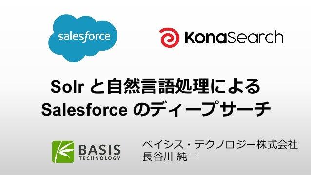 Solr と自然言語処理による Salesforce のディープサーチ ベイシス・テクノロジー株式会社 長谷川 純一