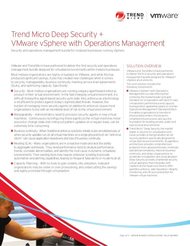 Trend Micro Deep Security +  VMware vSphere with Operations Management  Security and operations management bundle for mids...