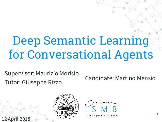 Deep Semantic Learning for Conversational Agents Candidate: Martino Mensio Supervisor: Maurizio Morisio Tutor: Giuseppe Ri...