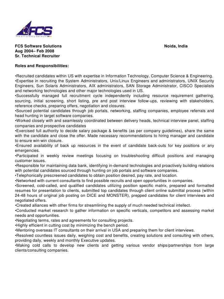senior technical recruiter resume