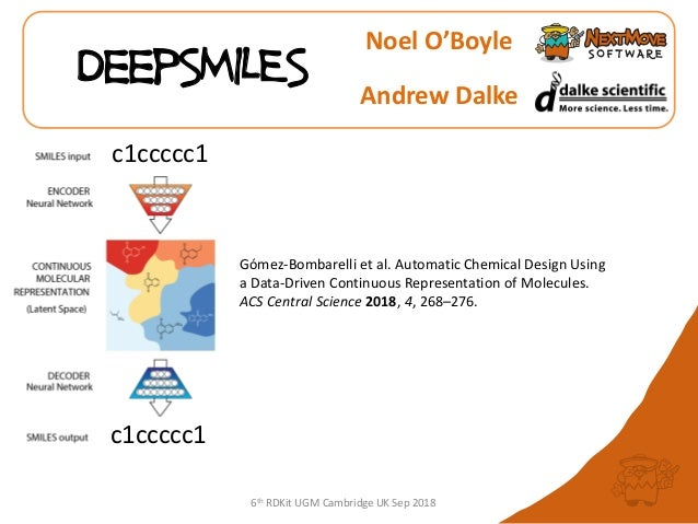 6th RDKit UGM Cambridge UK Sep 2018 DeepSMILES Noel O'Boyle Andrew Dalke Gómez-Bombarelli et al. Automatic Chemical Design...