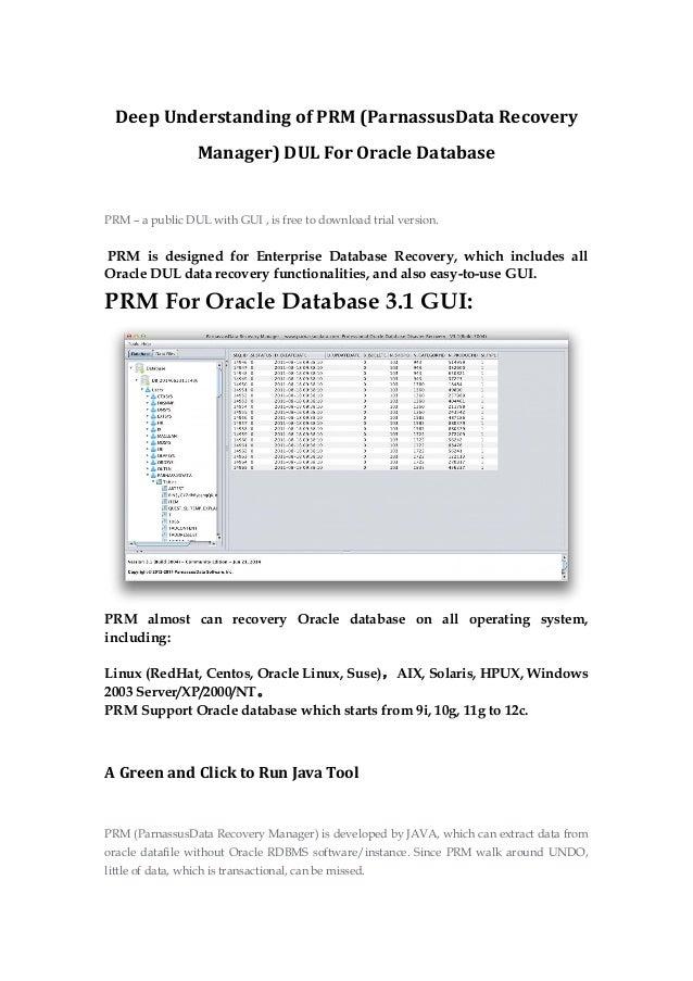 Deep understanding of prm (parnassus data recovery manager