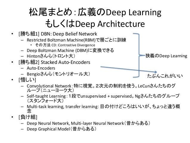 松尾まとめ:広義のDeep Learning        もしくはDeep Architecture• [勝ち組1] DBN: Deep Belief Network   – Restricted Boltzman Machine(RBM)で...