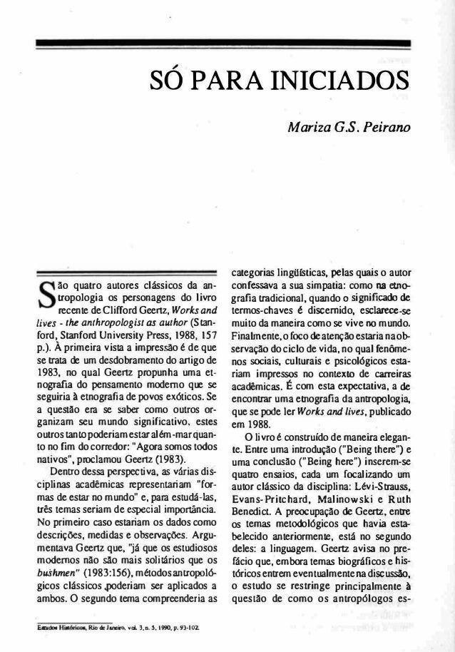 """• """" SO PARA INICIADOS • ão quatro autores clássicos da an tropologia os personagens do livro recente de Clifford Geenz, W..."""