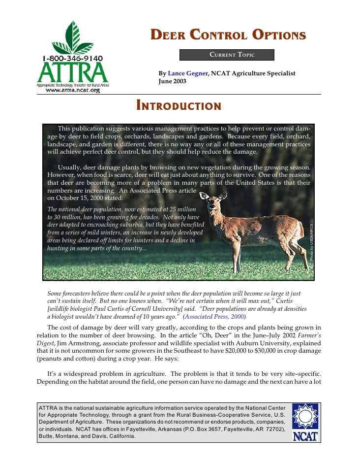 DEER CONTROL OPTIONS                                                                    CURRENT TOPIC                     ...