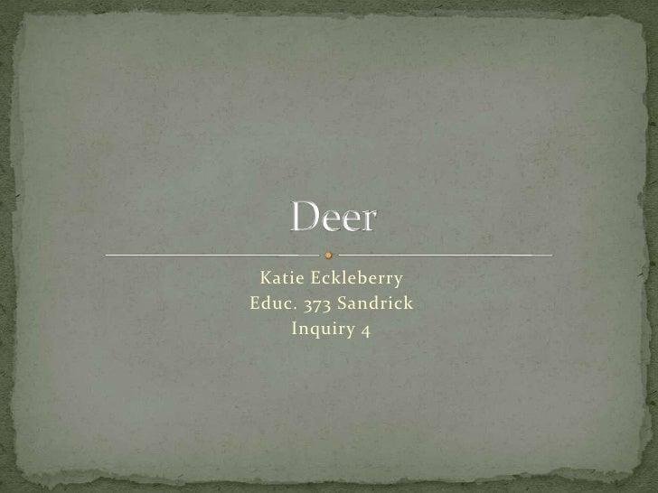 Katie Eckleberry<br />Educ. 373 Sandrick<br />Inquiry 4<br />Deer <br />
