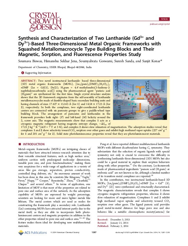 Synthesis and Characterization of Two Lanthanide (Gd3+ and Dy3+ )‑Based Three-Dimensional Metal Organic Frameworks with Sq...