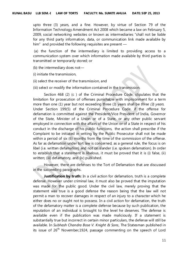 the cyber defamation india Social media and networking websites have occupied an insurmountable space in our lives india litigation, mediation & arbitration singh & associates 13 oct 2014.