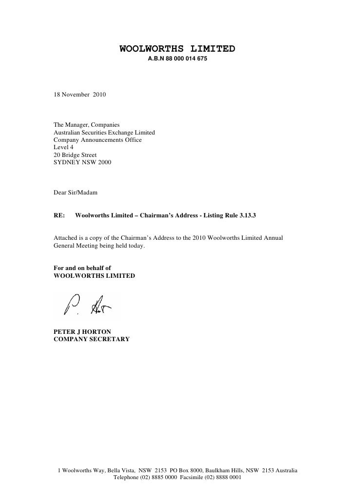 WOOLWORTHS LIMITED                                   A.B.N 88 000 014 67518 November 2010The Manager, CompaniesAustralian ...