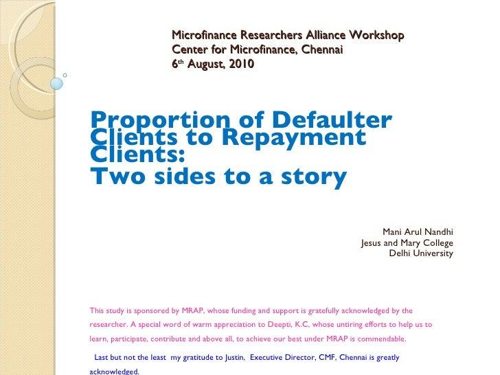 Defaulters to repayment client