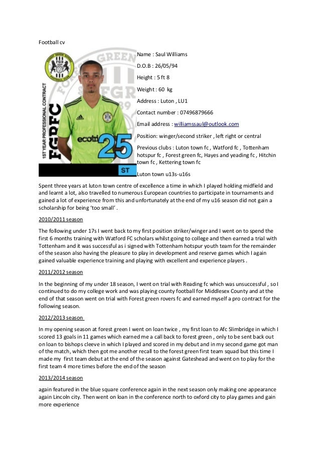 Saul new football cv for Football cv templates free