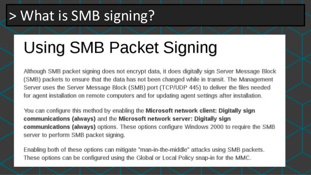 Smb-security-mode message signing disabled dating