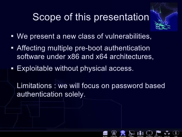 [DEFCON 16] Bypassing pre-boot authentication passwords  by instrumenting the BIOS keyboard buffer (practical low level attacks against x86 pre-boot authentication software)  Slide 3