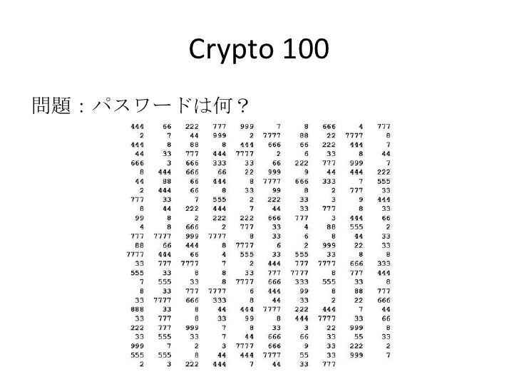 Crypto 100<br />問題:パスワードは何?<br />