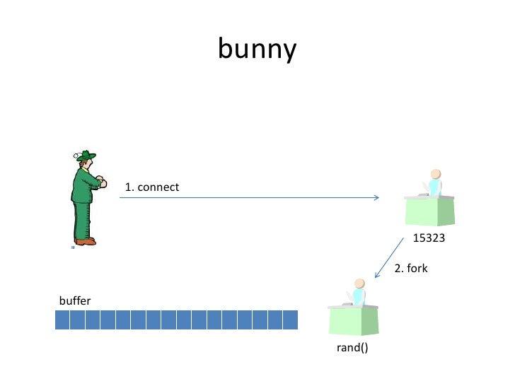 bunny<br />1. connect<br />15323<br />2. fork<br />buffer<br />rand()<br />