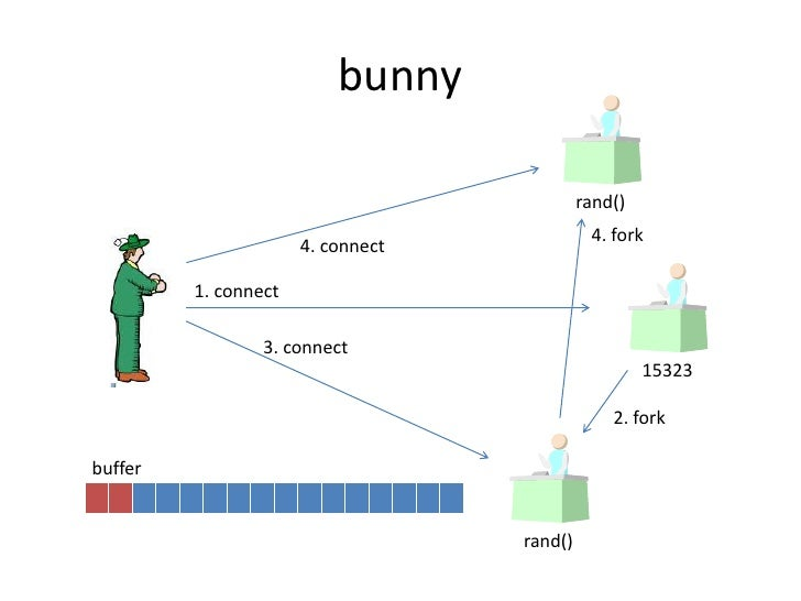 bunny<br />rand()<br />4. fork<br />4. connect<br />1. connect<br />3. connect<br />15323<br />2. fork<br />buffer<br />ra...
