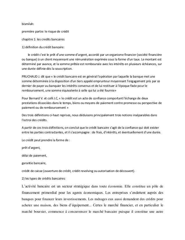 bismilah: première partie: le risque de crédit chapitre 1: les credits bancaires 1) définition du crédit bancaire: le créd...