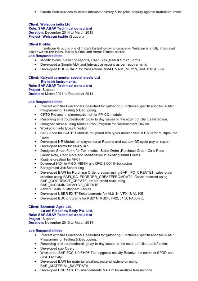 Sap Abap Developer Cover Letter Sample And Resume Template Sap Abap  Developer Cover Letter Sample And