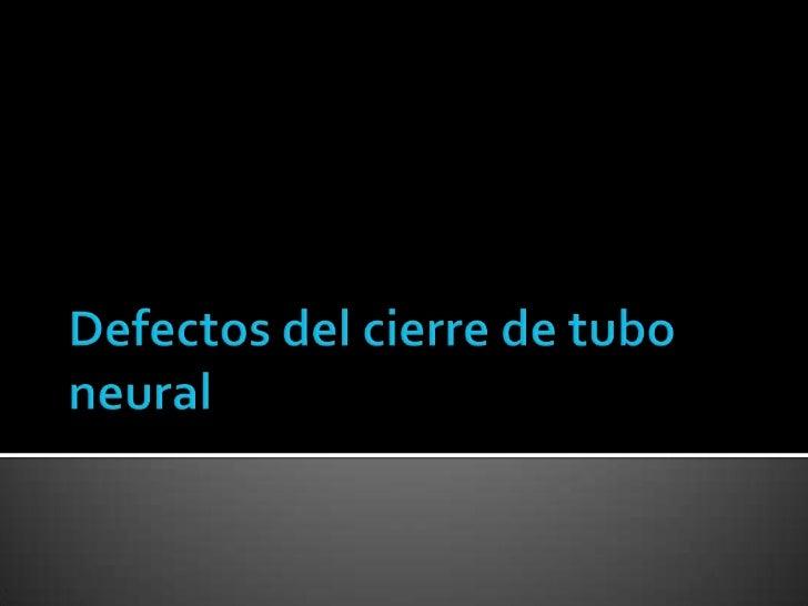 Defectos del cierre de tubo neural<br />