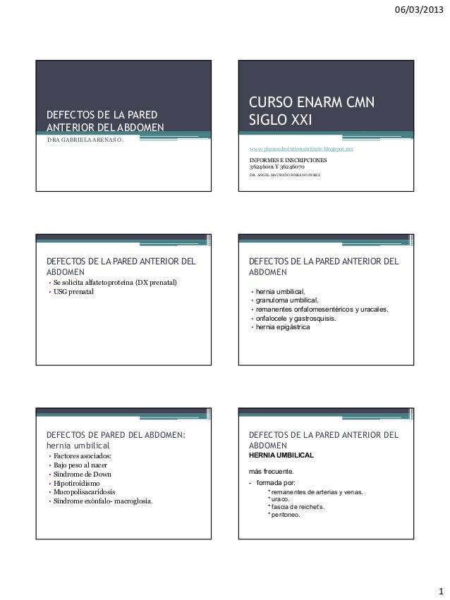06/03/2013                                               CURSO ENARM CMNDEFECTOS DE LA PAREDANTERIOR DEL ABDOMEN          ...