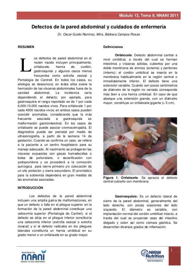 Módulo 13, Tema 9, NNANI 2011         Defectos de la pared abdominal y cuidados de enfermería                            D...