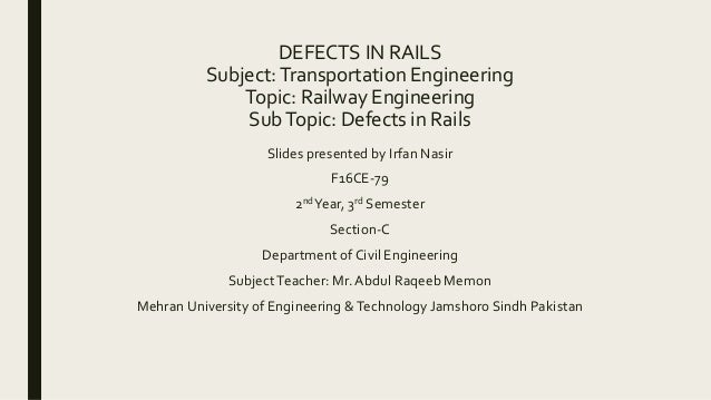Defects in rails  Railway Engineering