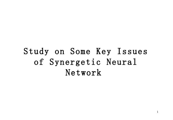 Study on Some Key Issues of Synergetic Neural Network