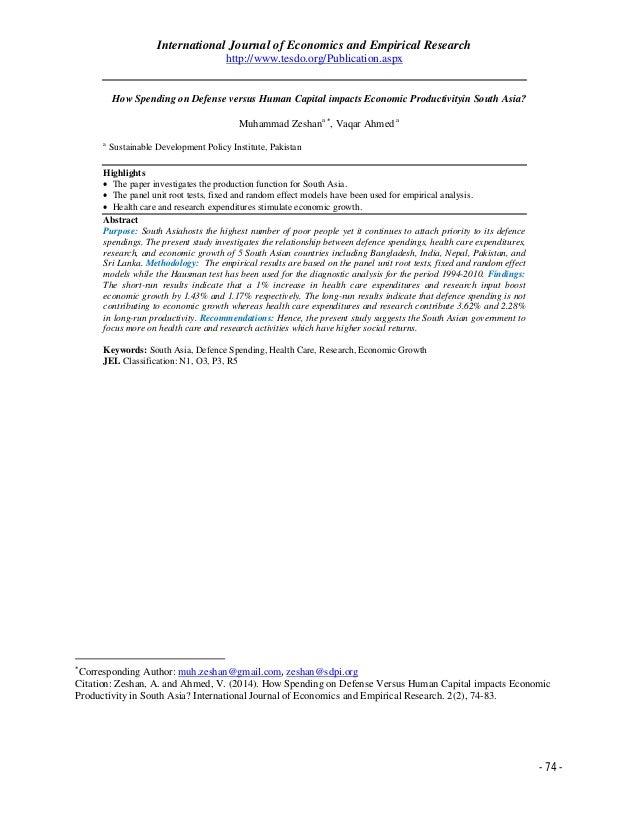 International Journal of Economics and Empirical Research http://www.tesdo.org/Publication.aspx  How Spending on Defense v...