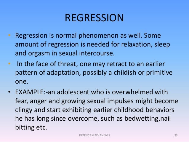 regression is a defense mechanism that involves